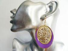 Gorgeous Lilac Enamel Look Gold Tone Oval Filigree Design Dangle Drop Earrings