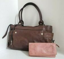 FOSSIL Brown Pebble Leather Purse HandBag + FOSSIL WALLET - FREE SHIP!!!