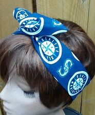 Seattle Mariners  Wired Dolly Bow Rockabilly Scarf Headband Rabbit Ears