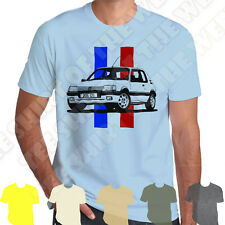 Peugeot 205 Gti Tricolore Stripe T-shirt. Personalised Plate opt. 7 col of Tee