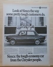 1967  magazine ad for Simca - student nurses & car, the tough economy car