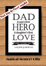 Fathers day Dad gift print daddy grandad hero personalised a4 print first love