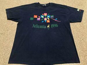 RARE Vintage Atlanta Olympics T Shirt 1996 Navy Blue Graphic Mens Size XL