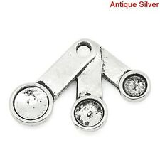 8 Silver Pewter Measuring Spoons Baking Charm Pendants chs0182