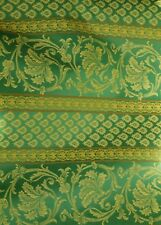 Green damask fabric with classical pattern backed to keep shape, interior deco