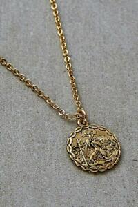 Urban Outfitters Gold-Plated Saint Christopher Medallion Necklace Pendant