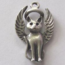 Pewter Guardian Angel Kitty-Cat Charm/Pendant~Collar~Necklace~Memorial Keepsake~