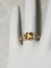 NEW OLD STOCK 14 K YELLOW GOLD SIZE 7 1/4 OVAL CITRINE & QUARTZ RING 2.8 GRAMS !
