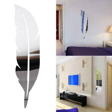DIY 3D Feather Plume Mirror Wall Vinyl Decal Sticker Home Room Mural Decor UK