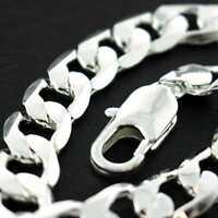 Men's Bracelet Bangle Genuine Real 925 Sterling Silver S/F Solid Cuban Link