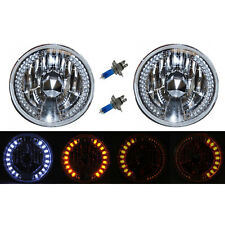 "7"" Crystal White LED Halo Angel Eye Drl & Amber Turn Signal H4 Headlights Pair"