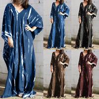 UK Women Batwing Sleeve Long Party Dress Ladies Baggy Summer Maxi Dresses Kaftan
