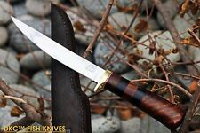 DKC-610 BLACK DOUCETTE Fishing Filet Knife Mirror Finish Steel Blade Hunting Han
