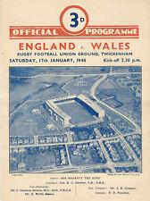 ENGLAND v WALES 1948 RUGBY PROGRAMME 17 JANUARY - TWICKENHAM