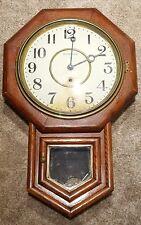 Antique Working INGRAHAM Oak Octagon Drop School House Regulator Wall Clock