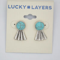 Lucky brand jewelry vintage unique silver tone post stud earrings for women
