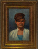 Framed Early 20th Century Oil - Boy with a Brown Baker Hat