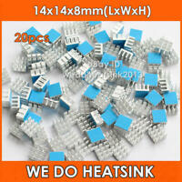 20pcs Silver Small Square 14x14x8mm Aluminum Heat Sinks Cooler With Thermal Tape
