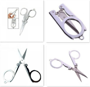 NEW FOLDING NAIL SCISSORS SMALL FOLDABLE POCKET METAL KEYRING CLIPPERS CLIPS
