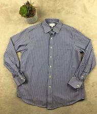 Tommy Bahama Mens Button Front Dress Shirt Sz 16 34/35 blue stripe L/S Top