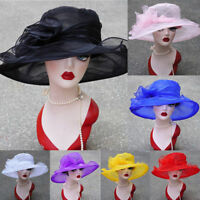 Ladies Women Kentucky Derby Wide Brim Wedding Church Occasional Organza Sun Hat