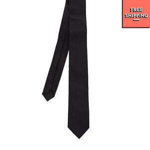 BIKKEMBERGS Satin Necktie Dark Blue Short Fully Lined