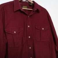 VTG Eddie Bauer Button Down Shirt Chamois Cloth Burgundy USA Made Men's Size XL
