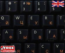 Russo TRASPARENTI TASTIERA ADESIVI con lettere Arancione per Laptop PC Computer