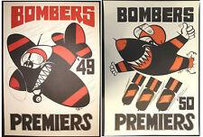 1949 & 1950 Essendon Premiers Weg Mascots posters X2 Premiership Bombers poster