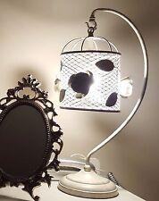 GRANDE Appeso ROSE Birdcage base in metallo e paralume lampada da tavolo Swirl Birds Swing