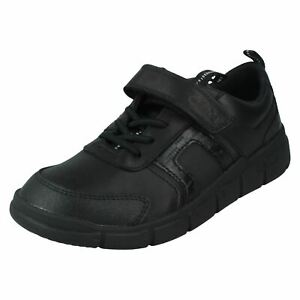 Boys Clarks Hook & Loop Leather & Synthetic School Shoes Encode Bright
