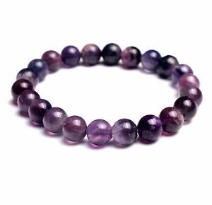 8.7mm Natural Purple Fluorite Quartz Crystal Gemstone Round Beads Bracelet AAA