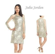 Julia Jordan Gold Melange Knit Cocktail Dress Event Wedding Cruise Dinner 12