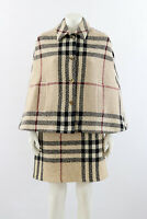 Burberry London Classic Nova Check Wool Poncho Cape Coat Jacket Size M England