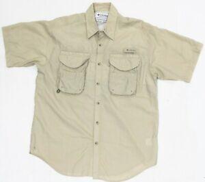 Columbia PFG Mens Shirt Medium Brown Short Sleeve Vented Fishing Button Up