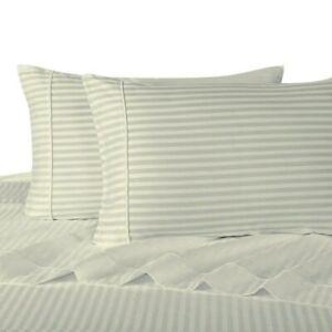 "300 TC Ivory Olympic Queen Sateen Stripe 18"" Deep Pocket Sheet Sets"