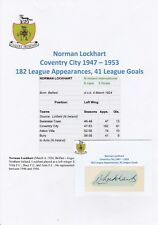 NORMAN LOCKHART COVENTRY CITY 1947-1953 RARE ORIGINAL HAND SIGNED CUTTING/CARD