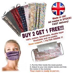 Face Mask Virus UK Reusable Washable Mouth Cover 100% Cotton Handmade + Filter