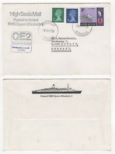 1973 QE2 Paquebot Cover BERMUDA to BERLIN GERMANY Ship CUNARD Liner GIBRALTAR