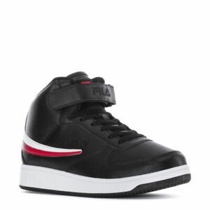 FILA A-HIGH LEATHER TRAINERS SNEAKER MEN SHOES BLACK/RED/WHITE SIZE 10.5 NEW