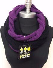Womens Winter Soft Knit 1-Circle Loop Infinity Cowl Neck Scarf Wrap,Black/Purple