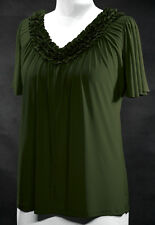 V-Neck Flowing Angel Sleeves Stretchy Top ~Green~3X~22/24~Plus Size Shirt/Blouse
