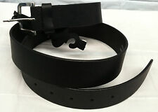 Paul Walter Black Leather Belt Size 30-32 Cowhide Leather Nickel Plated Buckle