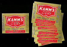 (10) Kamm's Pilsener Light Beer Bottle Labels Lot (Mishawaka, In)