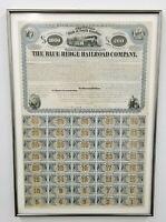 1869 THE BLUE RIDGE RAILROAD COMPANY MORTGAGE BOND STOCK CERTIFICATE $1000 SC
