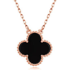 """Sterling Silver .925 CZ Rose Gold Black Agate Fashion Pendant Necklace 16"""" Chain"""