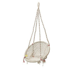 Wood Extremely Comfortable Indian Curio Centre White Round Cotton Swing For Kids