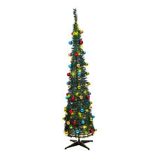 6ft Pop-up Green Indoor Xmas Christmas Tree With Decorations 60 Warm White LED