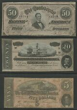 (4) Different 1864 Confederate States Bank Notes 50¢ / $50.00 Bt1372