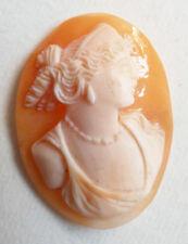 Camée sur coquille 19e siècle femme déesse monter sur broche pendentif cameo